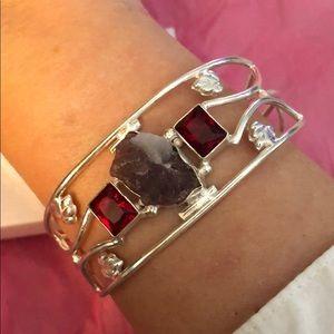 Jewelry - Sterling silver Raw Amethyst garnet cuff bracelet